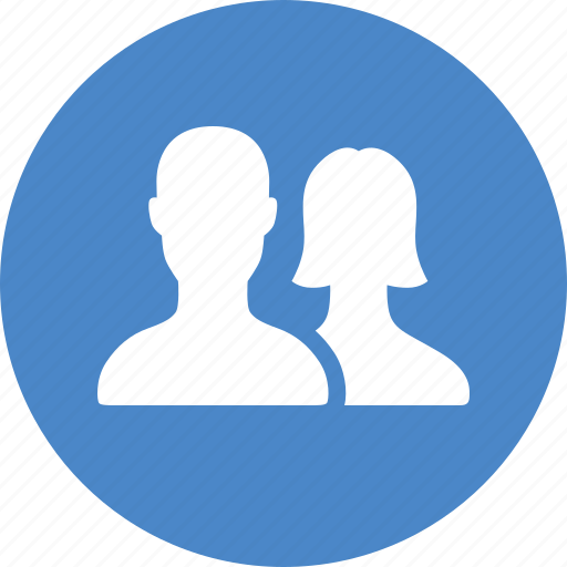 blue, circle, contacts, couple, friends, members, users icon