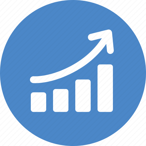 blue, chart, circle, graph, revenue growth, sales, success icon