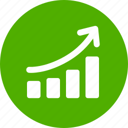 chart, circle, graph, green, revenue growth, sales, success icon