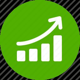 chart, circle, graph, green, revenue growth, sales, success icon