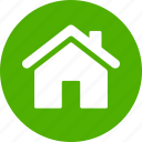 address, casa, circle, green, home, house, local icon