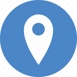 address, blue, circle, location, map, marker, navigation icon