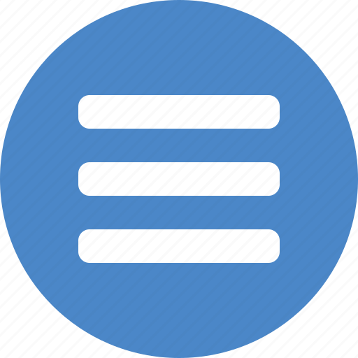 blue, circle, hamburger, list, menu, navigation, stack icon