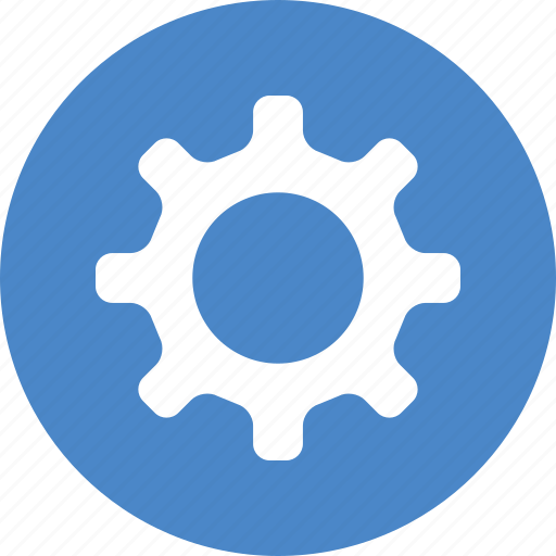 blue, circle, cog, customize, gear, preferences, settings icon