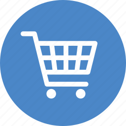 blue, buy, cart, circle, ecommerce, shopping, trolley icon