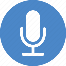 blue, circle, mic, microphone, recording, speaker, speech icon