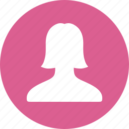 account, avatar, circle, female, pink, profile, user icon