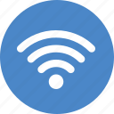 blue, circle, internet, network, signal, wifi, wireless icon