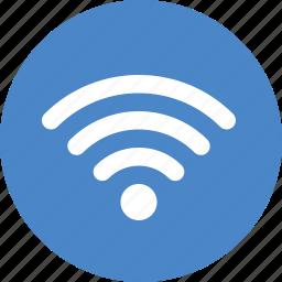 blue, circle, internet, network, signal, wifi, wireless icon