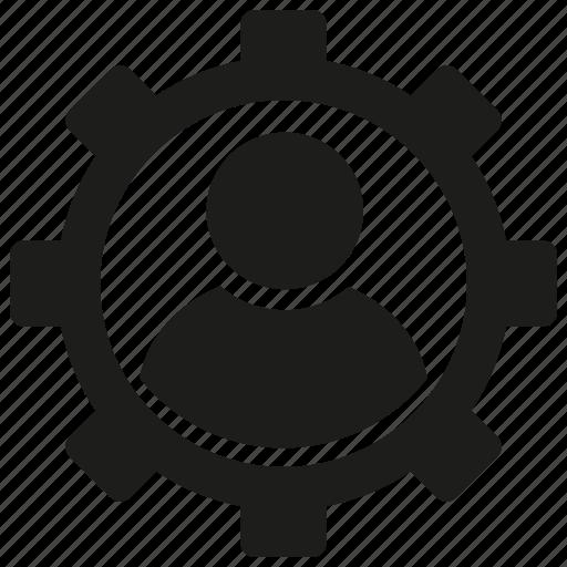 cog, gear, man, people icon