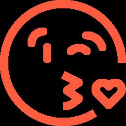 adoration, emoji, emotion, face, heart, kiss, love, reaction, social icon
