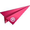 dribbble, origami, paper plane, pink, social media icon