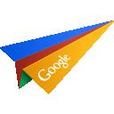 google, origami, paper plane, social media icon