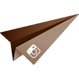 brown, instagram, origami, paper plane, social media icon
