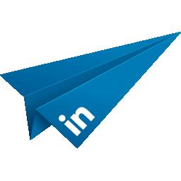 blue, linked in, linkedin, origami, paper plane, social media icon