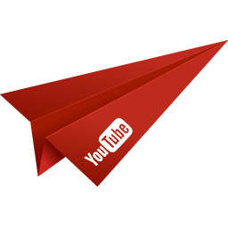 origami, paper plane, red, social media, video, youtube icon