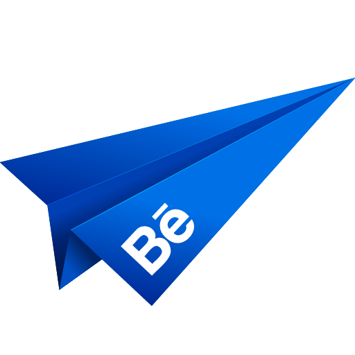behance, blue, origami, paper plane, social media icon