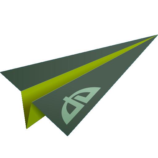 deviantart, green, origami, paper plane, social media icon