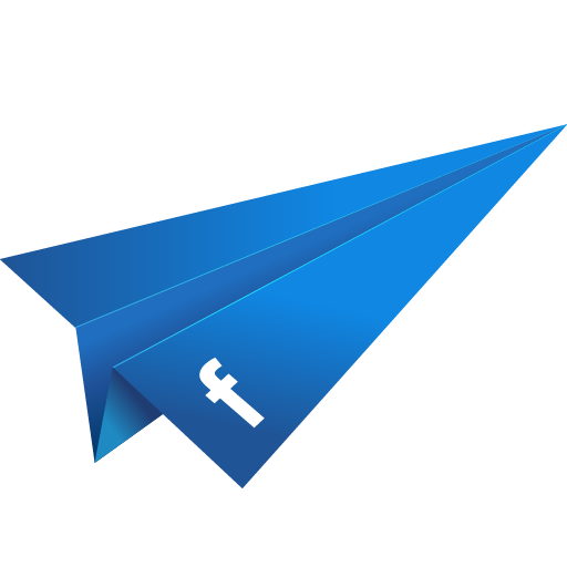 blue, facebook, origami, paper plane, social media icon