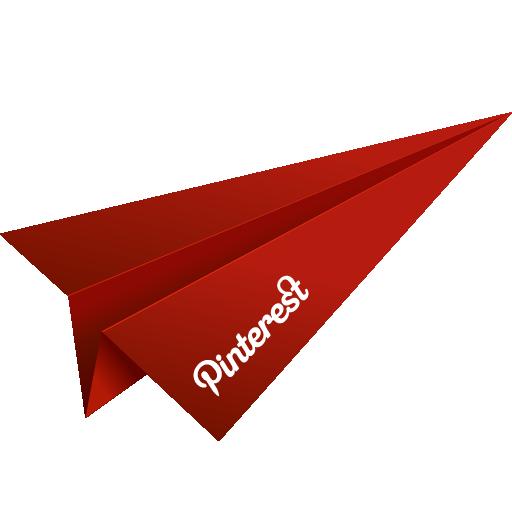 origami, paper plane, pinterest, red, social media icon