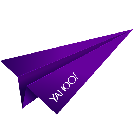 origami, paper plane, purple, social media, yahoo icon