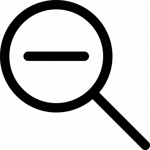 magnify, magnifying glass, minus, out, overview, view less, zoom icon