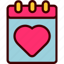 calendar, date, heart, love, valentine icon