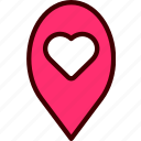 gps, heart, location, love, map, pin, place