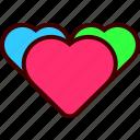 heart, hearts, love, romance, three, valentine