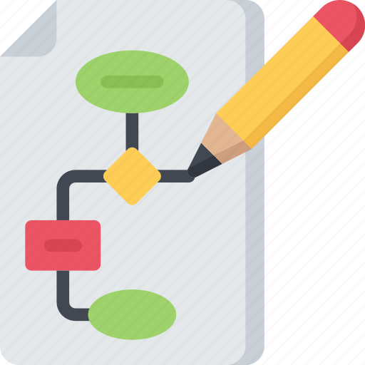 algorithm, computing, drawing, flowchart, it solutions, software engineering icon