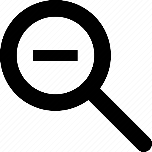 magnifying glass, minus, out, reduce, smaller, zoom icon
