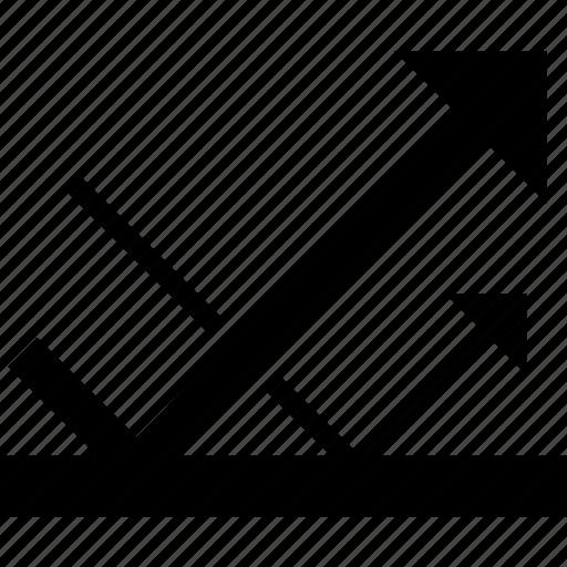 arrow, echo, light, mirror, reflection, repel, return icon