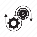 cog, coin, fund, gear, money, rotate, system icon