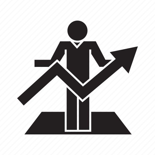 business man, chart, graph, growth, people, profit icon