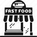 building, commerce, fast food, food, restaurant, retail, storefront icon