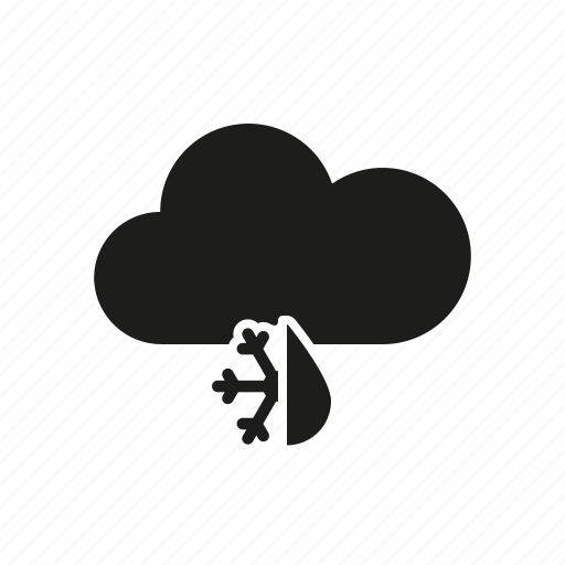 climate, cloud, raindrop, sleet, snowflake, weather icon