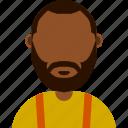 afro american, avatar, orange, suspenders icon