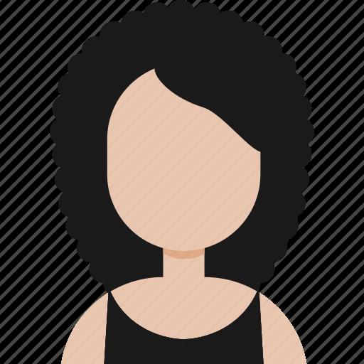 afro, avatar, dress, girl icon