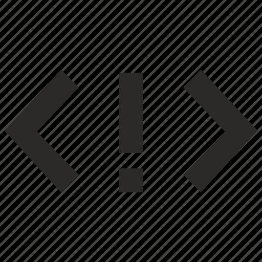 api, attention, code, error, source icon