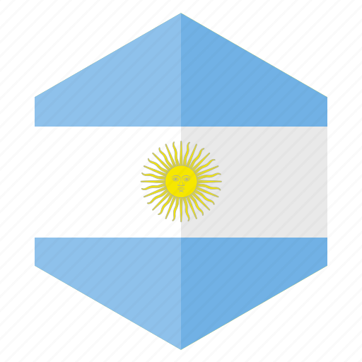 america, argentina, country, design, flag, hexagon icon