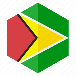 america, country, design, flag, guyana, hexagon icon