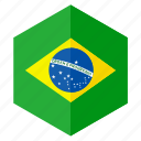 america, brazil, country, design, flag, hexagon icon