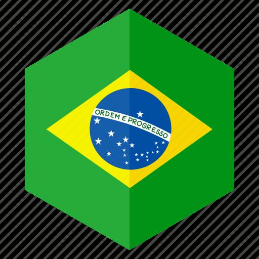 america, brazil, country, design, flag, hexagon icon