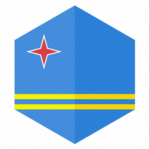 america, aruba, country, design, flag, hexagon icon