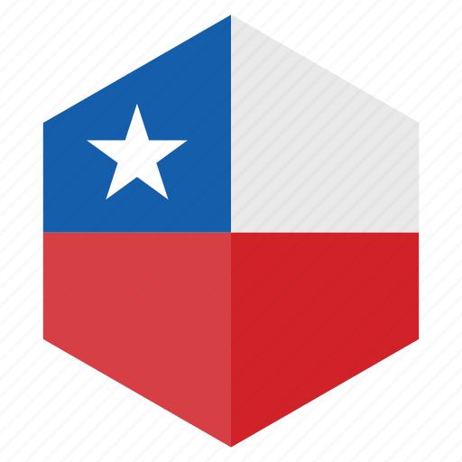 america, chile, country, design, flag, hexagon icon