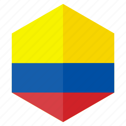 america, colombia, country, design, flag, hexagon icon