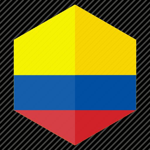 america, colombia, country, design, flag, hexagon icon