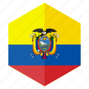 america, country, design, ecuador, flag, hexagon icon