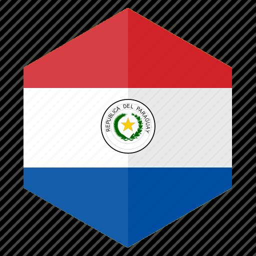 america, country, design, flag, hexagon, paraguay icon