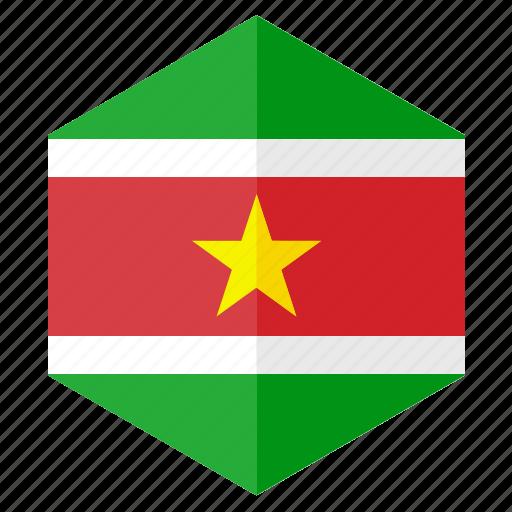 america, country, design, flag, hexagon, suriname icon
